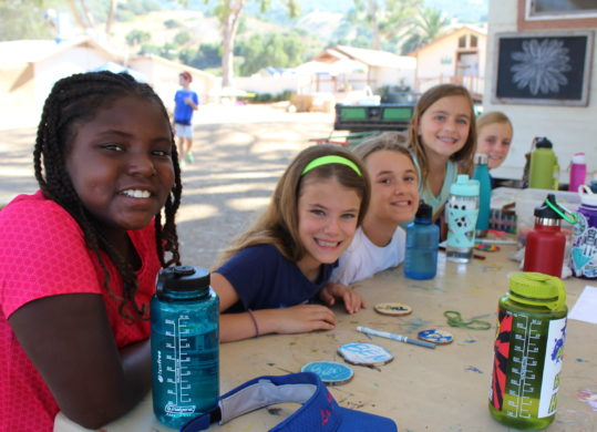 girls at summer camp doing arts and crafts