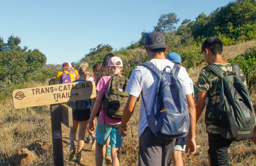 campers walking through the trans-Catalina trail
