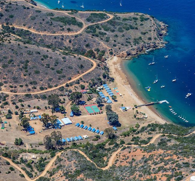 aerial shot of Catalina Island
