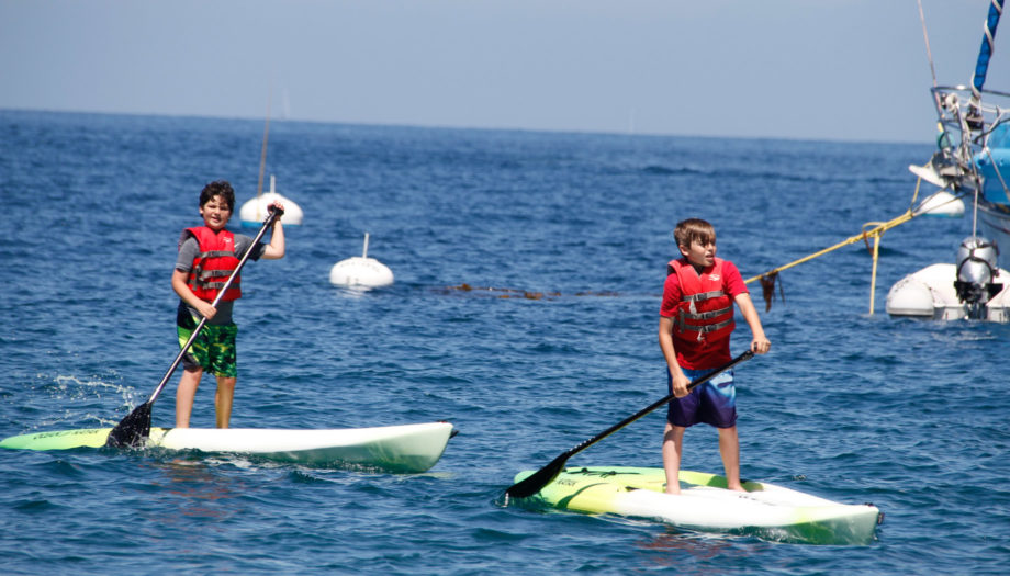 stand-up paddleboarding in the Pacific Ocean