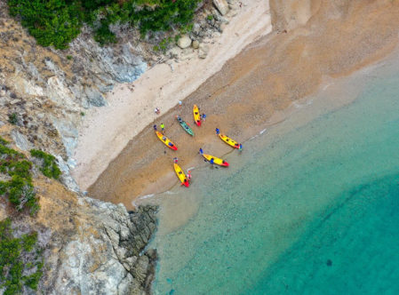 kayaks in a cove
