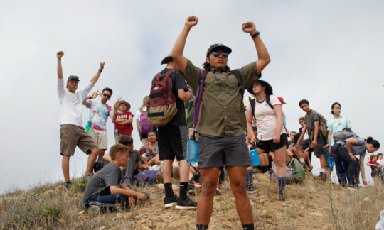 hikers celebrating at the summit of one of the trails on Catalina Island