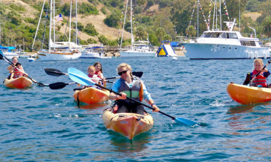 kids kayaking off the coast of Catalina Island