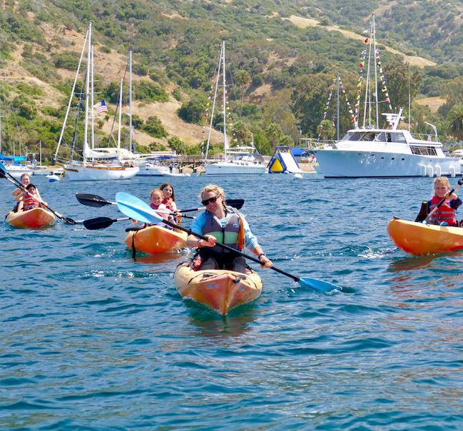 kids kayaking off the coast of Catalina Island
